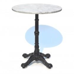 Mesa con cubierta de marmol y base en acero de fundicion estilo bistro