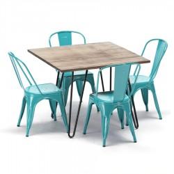 Paquete Industrial de 4 sillas Tolix y Mesa 80x80 cm