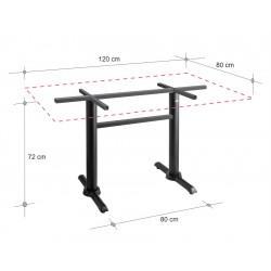 Base pedestal doble poste para mesa de 80x120 cm