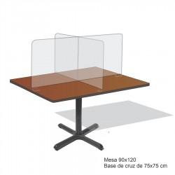 Mesa 90x120 cm para comedor industrial con bases de cruz con mamparas de acrilico