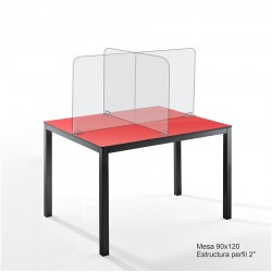 Mesa 90x180 cm para comedor industrial con mamparas de acrilico