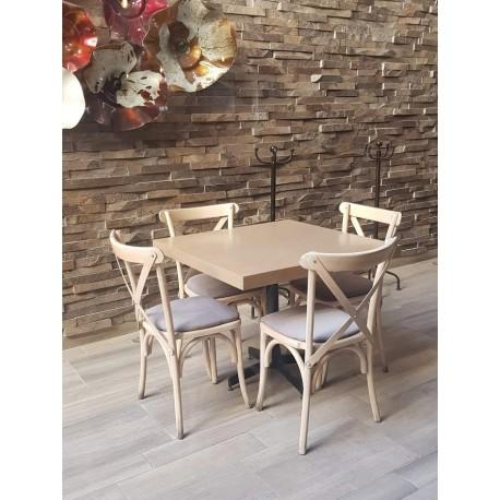 Paquete de 4 sillas crossback y Mesa 80x80 cm